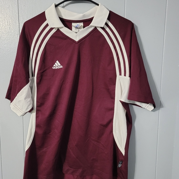Adidas Medium Burgundy Red Athletic Soccer Jersey